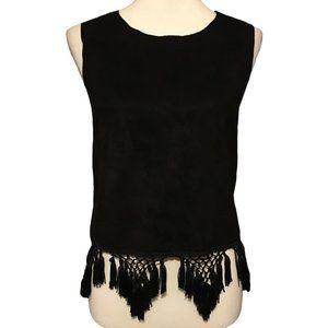 Gracia Black Cropped Tassel Top - Small